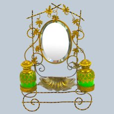 Beautiful Antique French Palais Royal Perfume and Mirror Set