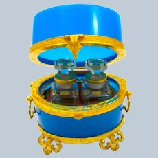 Antique Baccarat French Blue Opaline Glass Perfume Casket