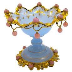 Rare Antique French Pale Lavender Opaline Glass Bowl with Very Fine Dore Bronze Mounts