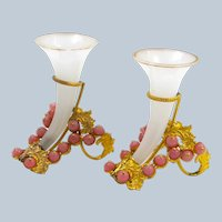 Pair of Rare Antique French White Opaline Glass Cornucopia with Pink Opaline Baubles.