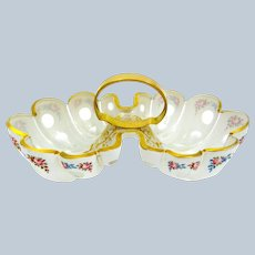 Antique Bohemian White Overlay Glass Shell Shaped Bowl with Pretty Flowers