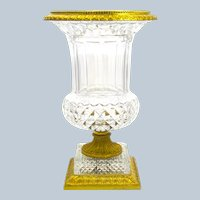 Very Large Antique Baccarat Cut Crystal and Bronze Campana Shaped Vase.