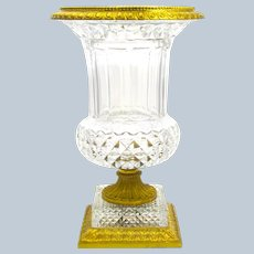 Very Large Antique Baccarat Cut Crystal Glass Campana Shaped Vase with Ornate Dore Bronze Mounts