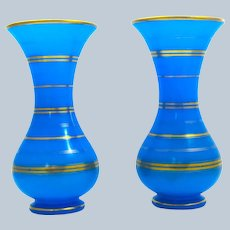 A Pair Baccarat Blue Opaline Glass Baluster-Shaped Vases