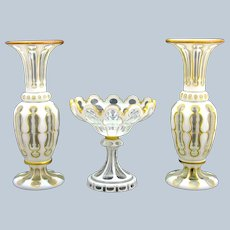 Antique Garniture of Bohemian White and Clear Overlay Vases comprising of a Pair of Vases and Central Bowl