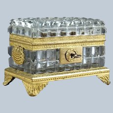 Antique BACCARAT Charles X Cut Crystal Casket with Scallop Shell Mounts