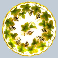 Large Stunning Antique Bohemian MOSER Enamelled Plate Decorated with Grapes and Vine Leaves.