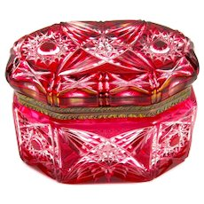 Antique Bohemian Cranberry Cut to Clear Crystal Oval Casket with Ornate Mounts.