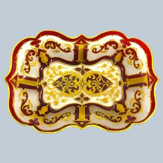 Antique Bohemian Deep Ruby Red Glass Gold Enamelled Dish with Scalloped Edge.