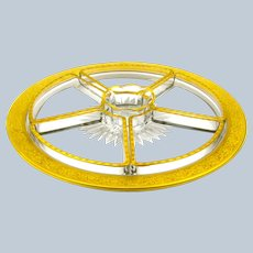 Antique French St Louis  Canapé Dish, Comprising of a Central Plate with 4 Fan Shaped Dishes and a Bowl.
