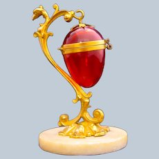 Antique Palais Royal Cranberry Glass Egg Shaped Thimble Holder with to Dore Bronze Tree Shaped Mounts