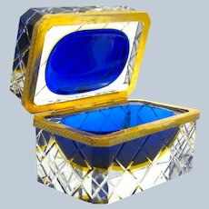 Vintage Murano Sommerso Blue Glass Casket and Dore Bronze Mounts .