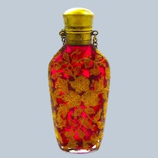 Antique MOSER Cranberry Glass Enamelled Perfume Bottle Beautifully Enamelled with Gold Flowers.