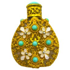 Pretty Vintage Czech Perfume Bottle with White Enamelled Flowers and Turquoise Stones.