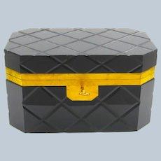 XL Large Antique Black Opaline Glass Casket Box