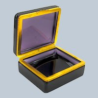 Antique Amethyst Glass Casket Box with Fancy Dore Bronze Mounts and Lift Clasp.