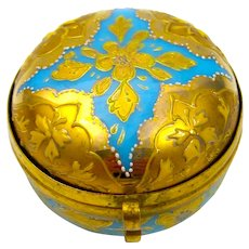 Antique MOSER Turquoise Opaline Glass Miniature Pill Box