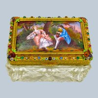 High Quality Palais Royal Signed Dore Bronze Porcelain and Crystal Enamelled Casket Box.