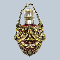 Pretty Antique Heart Shaped Ruby Red Crystal Glass Scent Bottle and 'Silver' Chatelaine.
