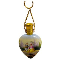 A High Quality Antique Heart Shaped French Porcelain Perfume Bottle with Chatelaine
