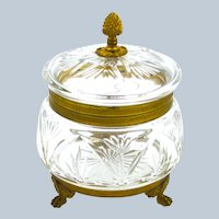 Large Antique French Cut Crystal Casket with Dore Bronze Acorn Finial.
