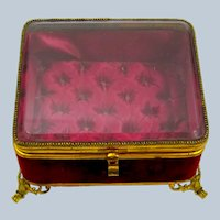 Antique French Jewellery Casket Box with Original Red Deep Button Silk Interior.