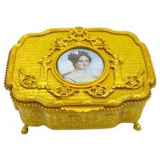 Rare Antique Fine Large Palais Royal Dore Bronze Casket Music Box