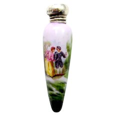 Unusual Fine Antique Icicle Shaped Porcelain Perfume Bottle