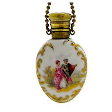Fine Antique French Porcelain Perfume Bottle Decorated with Courting Couple