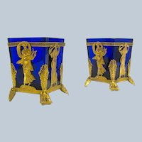 Pair of Empire Fine Dore Bronze and Crystal Vases Depicting Classical Figures.