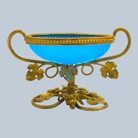 Antique Palais Royal Blue Opaline Glass Bowl with Dore Bronze Double Handles