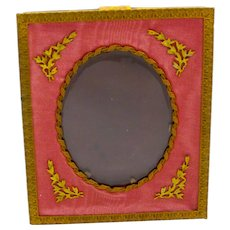 Antique French Empire Dore Bronze and Antique Rose Silk Frame Marked E.M & S