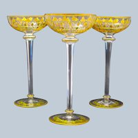 Antique Tall Set of Moser Vases with Enamelled Strawberries