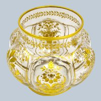 Unusual Antique MOSER Mellon-Ribbed Gilded St Louis Bowl
