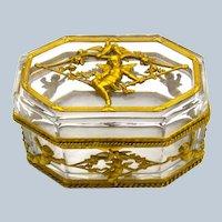 Antique Napoleon III Cut Crystal Casket and Dore Bronze Cherub Casket Box