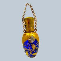 Antique MOSER Cobalt Blue Egg Shaped Perfume Bottle with Chatelaine and Finger Ring.
