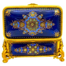 A Large Palais Royal Antique French 'Bombe' Jewel Casket with Enamelled Panels by Tahan.