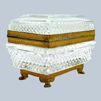Antique Baccarat Rectangular Cut Crystal Jewellery Casket Box.