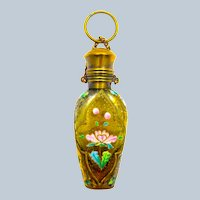 Antique MOSER Golden Amber Glass Perfume Bottle Chatelaine with Finger Ring