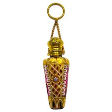 High Quality Antique Moser Cranberry Perfume Bottle with Chatelaine and Finger Ring
