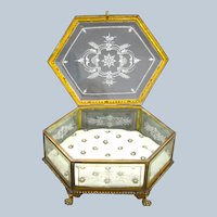 Large High Quality Antique Baccarat Dore Bronze and Crystal Hexagonal Jewellery Casket.