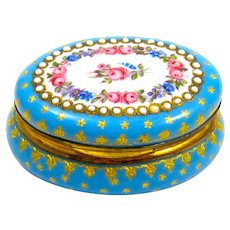 Antique French Turquoise Blue Enamelled Pill Box with Pretty Pink Roses
