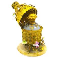 Rare Palais Royal Dore Bronze and Opaline Glass Bee Hive Perfume Bottle Set