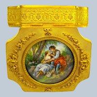 Antique Fine Palais Royal Dore Bronze Casket with Large Miniature