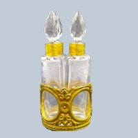 Napoleon III Dore Bronze and Crystal Perfume Set Comprising of 4 Perfume Bottles.