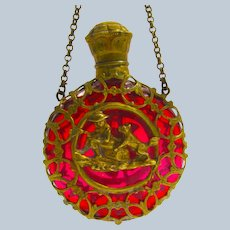 Antique Palais Royal Ruby Red Glass Scent Bottle Depicting a Boy and His Dog