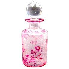 Large Beautiful Antique BACCARAT Eglantier Pattern Cranberry Acid Etched Perfume Bottle.