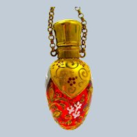 Antique MOSER Cranberry Glass Egg Shaped Perfume Bottle