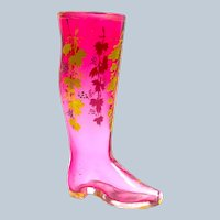 Antique MOSER Whimsical Cranberry Glass Boot Drinking Vessel.
