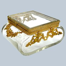 Unusual Antique Baccarat 'Bombe' Cut Crystal Casket and Dore Bronze Casket Box.